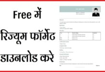 Indian Resume Format in Hindi