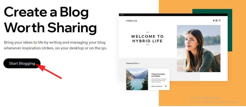 create blog on wix