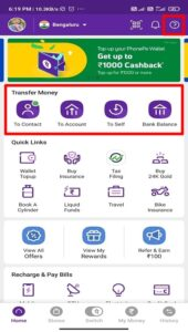 how to transfer money from phonepe to other bank account