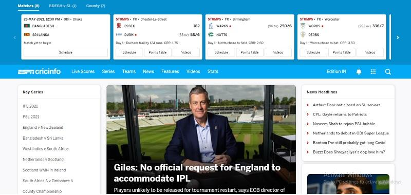 ESPNCricinfo - Live Cricket Scores