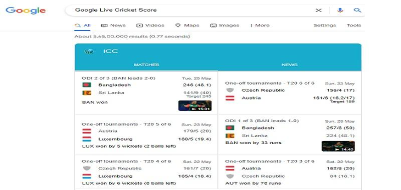 Google Live Cricket Score